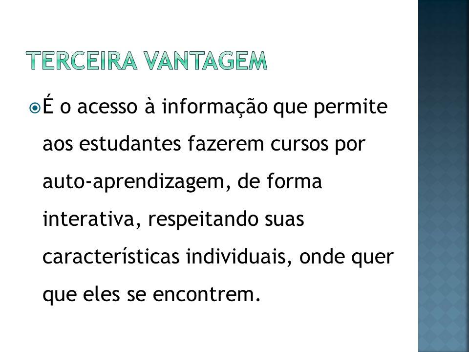É o acesso à informação que permite aos estudantes fazerem cursos por auto-aprendizagem, de forma interativa, respeitando suas características individ