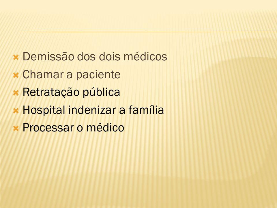 Demissão dos dois médicos Chamar a paciente Retratação pública Hospital indenizar a família Processar o médico