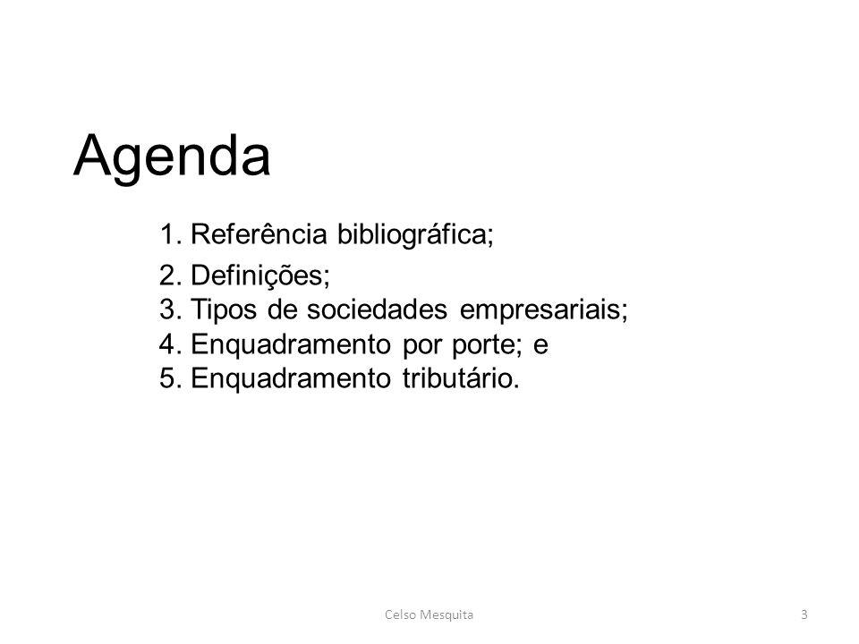 Agenda 1. Referência bibliográfica; 2. Definições; 3. Tipos de sociedades empresariais; 4. Enquadramento por porte; e 5. Enquadramento tributário. Cel