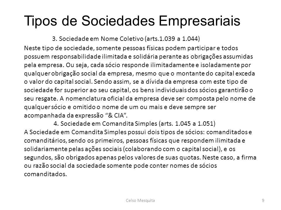 Tipos de Sociedades Empresariais 3. Sociedade em Nome Coletivo (arts.1.039 a 1.044) Neste tipo de sociedade, somente pessoas físicas podem participar