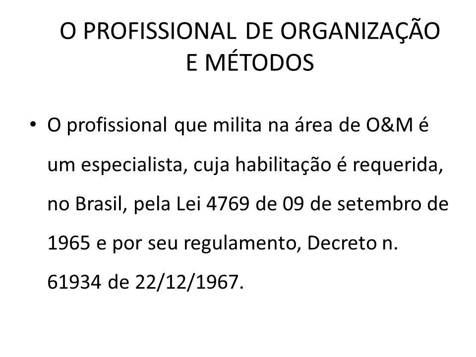 O PROFISSIONAL DE ORGANIZAÇÃO E MÉTODOS O profissional que milita na área de O&M é um especialista, cuja habilitação é requerida, no Brasil, pela Lei