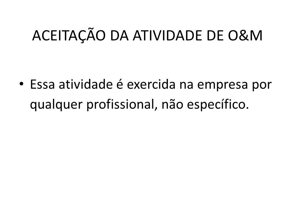 ACEITAÇÃO DA ATIVIDADE DE O&M Essa atividade é exercida na empresa por qualquer profissional, não específico.