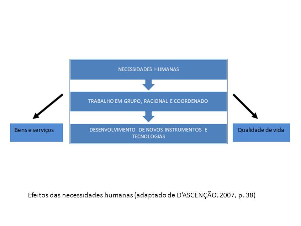 Efeitos das necessidades humanas (adaptado de DASCENÇÃO, 2007, p. 38)
