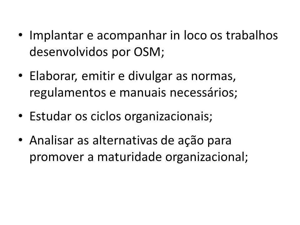 Implantar e acompanhar in loco os trabalhos desenvolvidos por OSM; Elaborar, emitir e divulgar as normas, regulamentos e manuais necessários; Estudar