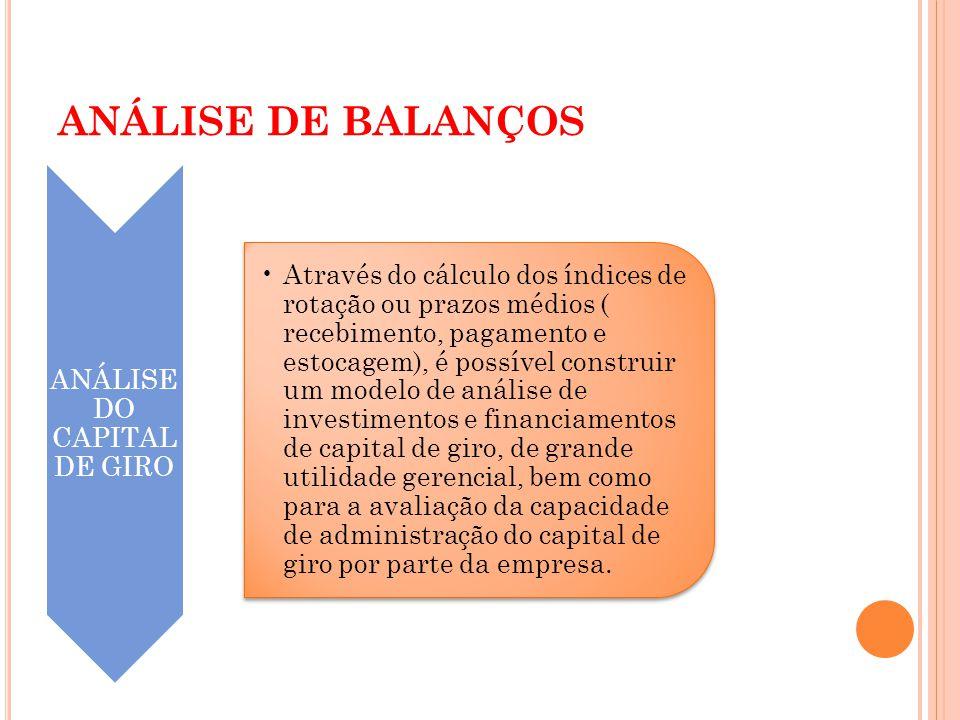 ANÁLISE DE BALANÇOS ANÁLISE DO CAPITAL DE GIRO Através do cálculo dos índices de rotação ou prazos médios ( recebimento, pagamento e estocagem), é pos
