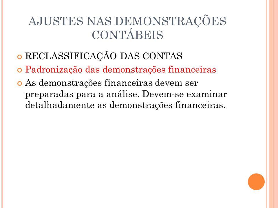 AJUSTES NAS DEMONSTRAÇÕES CONTÁBEIS RECLASSIFICAÇÃO DAS CONTAS Padronização das demonstrações financeiras As demonstrações financeiras devem ser prepa