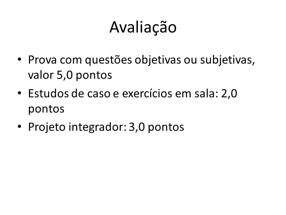 Avaliação Prova com questões objetivas ou subjetivas, valor 5,0 pontos Estudos de caso e exercícios em sala: 2,0 pontos Projeto integrador: 3,0 pontos