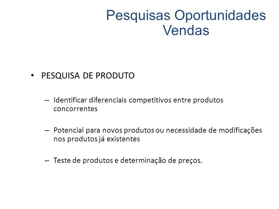 PESQUISA DE PRODUTO – Identificar diferenciais competitivos entre produtos concorrentes – Potencial para novos produtos ou necessidade de modificações nos produtos já existentes – Teste de produtos e determinação de preços.