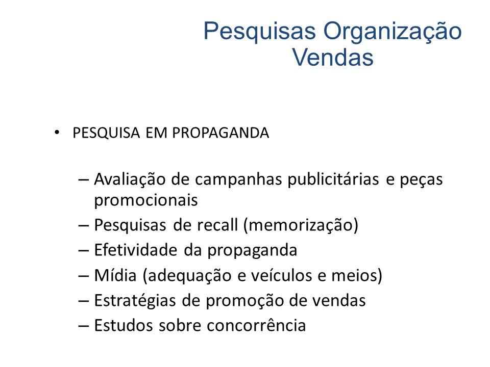 PESQUISA EM PROPAGANDA – Avaliação de campanhas publicitárias e peças promocionais – Pesquisas de recall (memorização) – Efetividade da propaganda – M