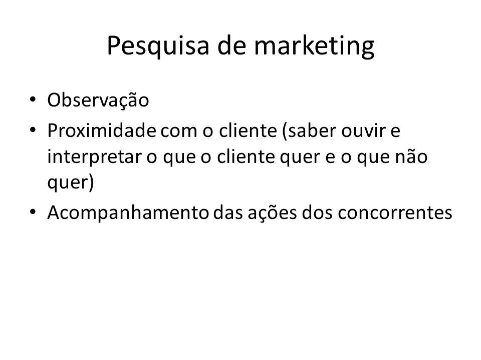 Pesquisa de marketing Observação Proximidade com o cliente (saber ouvir e interpretar o que o cliente quer e o que não quer) Acompanhamento das ações dos concorrentes