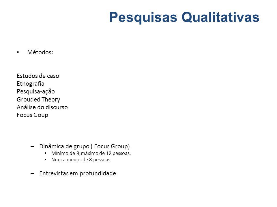 Métodos: Estudos de caso Etnografia Pesquisa-ação Grouded Theory Análise do discurso Focus Goup – Dinâmica de grupo ( Focus Group) Mínimo de 8,máximo de 12 pessoas.