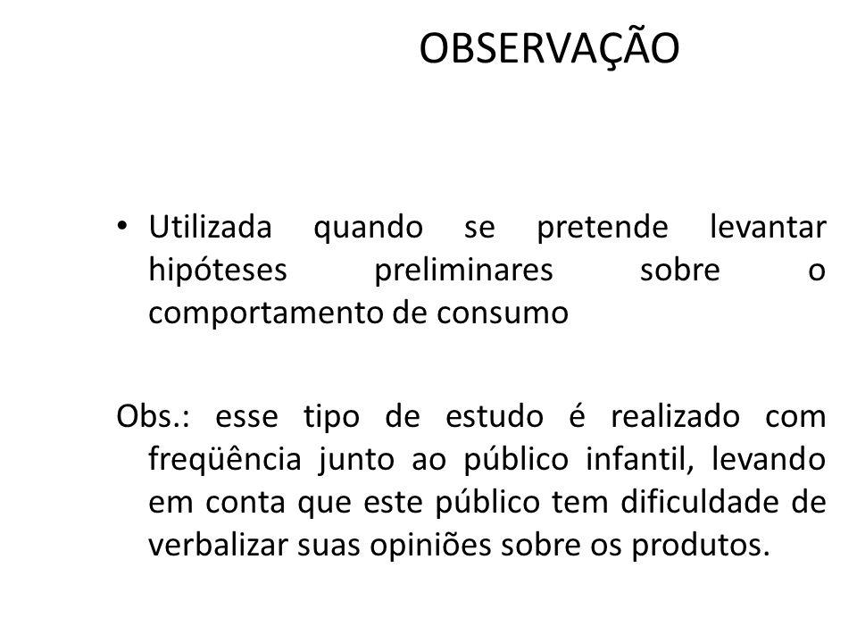 OBSERVAÇÃO Utilizada quando se pretende levantar hipóteses preliminares sobre o comportamento de consumo Obs.: esse tipo de estudo é realizado com fre