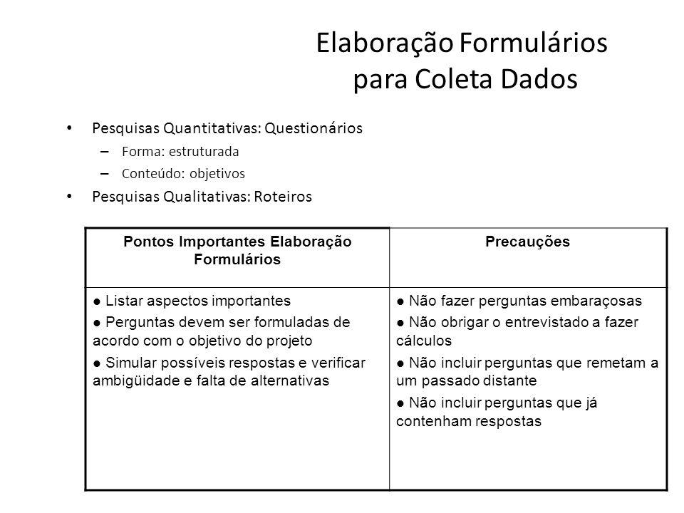 Elaboração Formulários para Coleta Dados Pesquisas Quantitativas: Questionários – Forma: estruturada – Conteúdo: objetivos Pesquisas Qualitativas: Rot