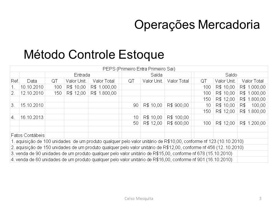 Operações Mercadoria Celso Mesquita3 Método Controle Estoque