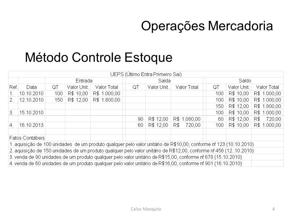 Operações Mercadoria Celso Mesquita4 Método Controle Estoque