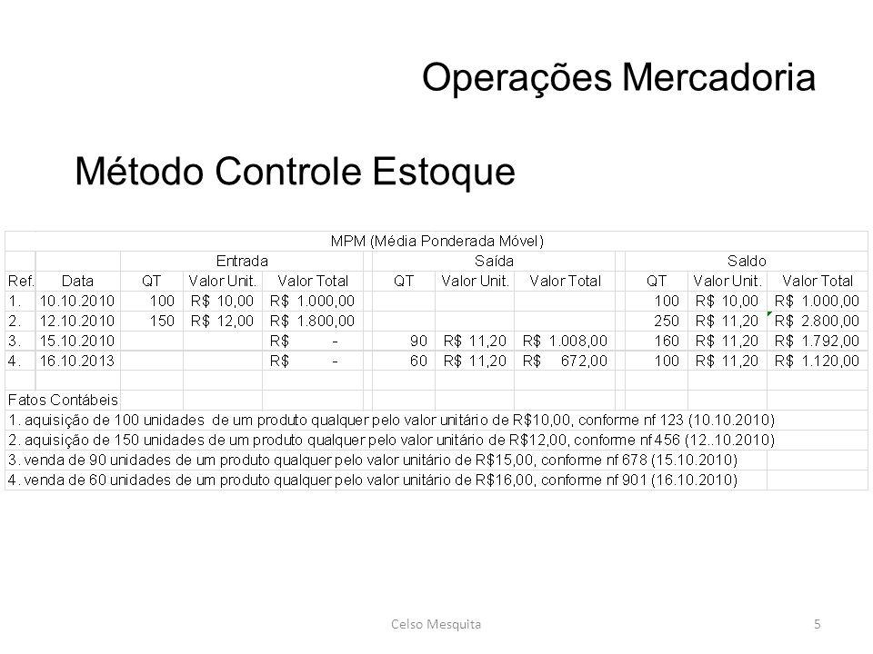 Operações Mercadoria Celso Mesquita5 Método Controle Estoque