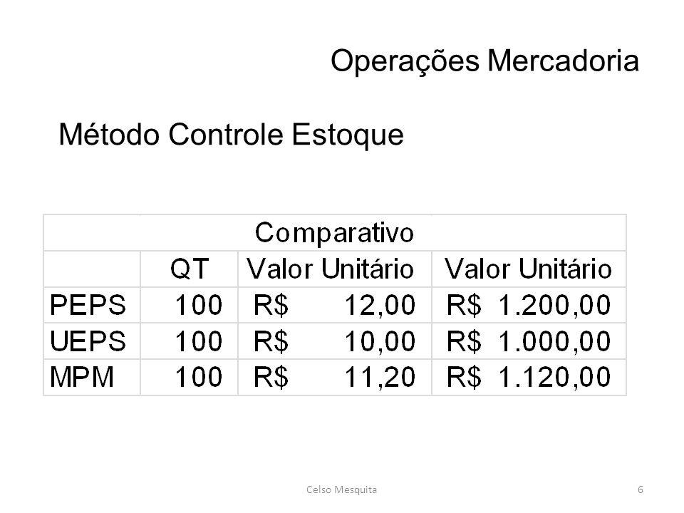 Operações Mercadoria Celso Mesquita6 Método Controle Estoque