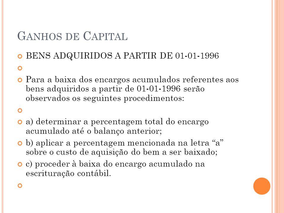G ANHOS DE C APITAL BENS ADQUIRIDOS A PARTIR DE 01-01-1996 Para a baixa dos encargos acumulados referentes aos bens adquiridos a partir de 01-01-1996
