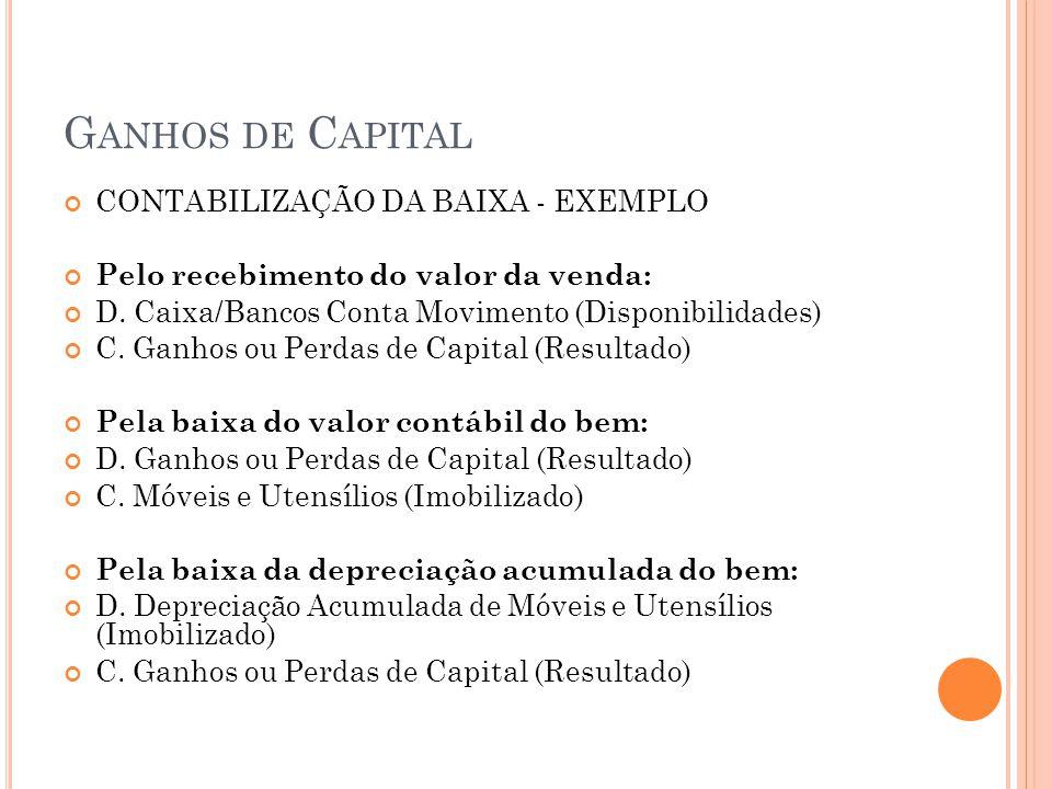 G ANHOS DE C APITAL CONTABILIZAÇÃO DA BAIXA - EXEMPLO Pelo recebimento do valor da venda: D. Caixa/Bancos Conta Movimento (Disponibilidades) C. Ganhos
