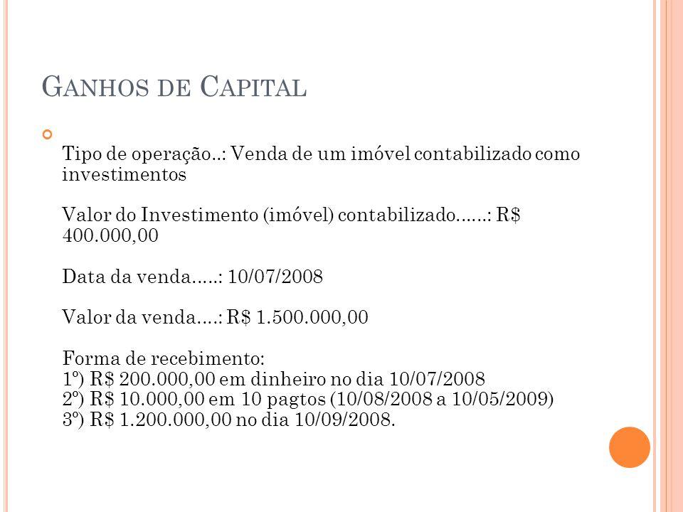 G ANHOS DE C APITAL Tipo de operação..: Venda de um imóvel contabilizado como investimentos Valor do Investimento (imóvel) contabilizado......: R$ 400