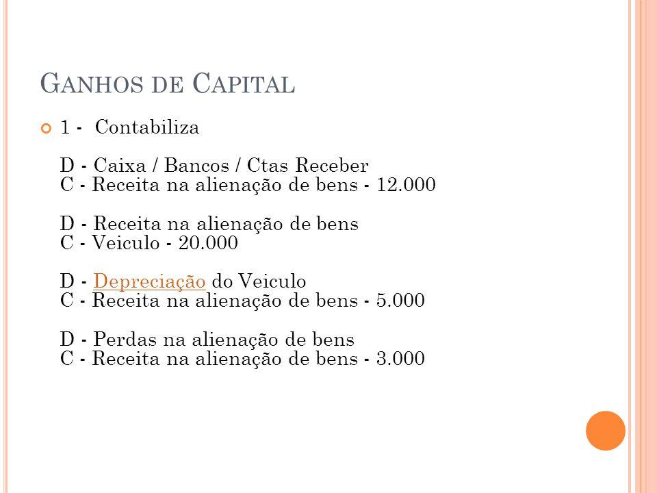 G ANHOS DE C APITAL 1 - Contabiliza D - Caixa / Bancos / Ctas Receber C - Receita na alienação de bens - 12.000 D - Receita na alienação de bens C - V