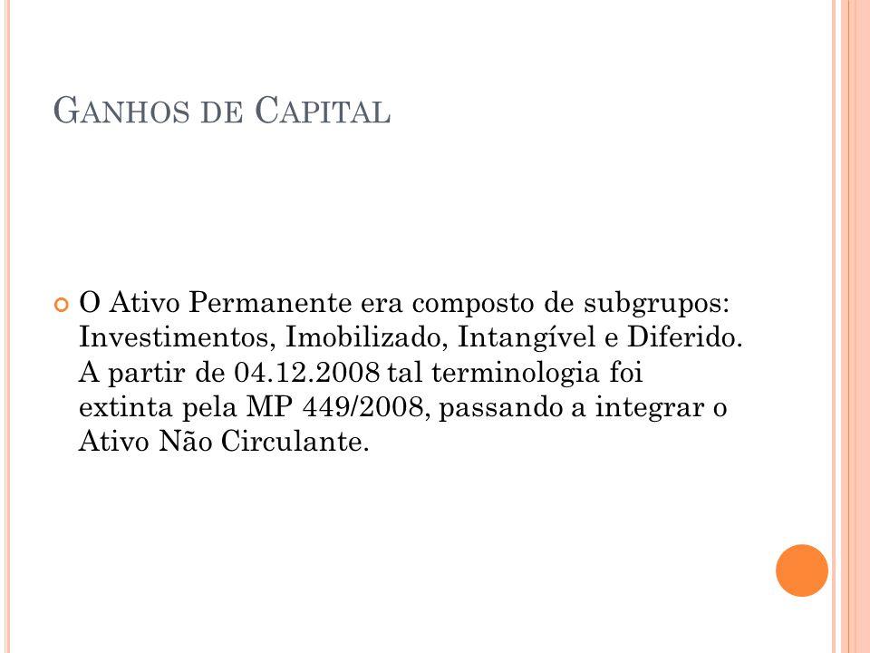 G ANHOS DE C APITAL O Ativo Permanente era composto de subgrupos: Investimentos, Imobilizado, Intangível e Diferido. A partir de 04.12.2008 tal termin