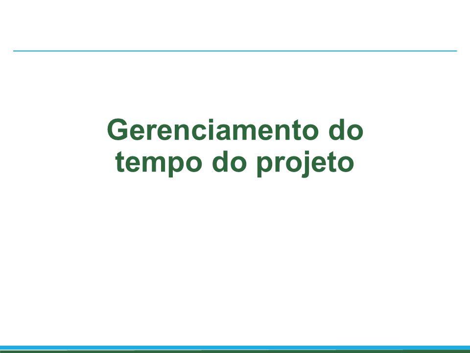 Gerenciamento do tempo Inclui os processos necessários para gerenciar o término pontual do projeto.