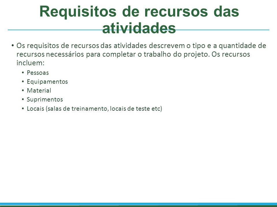 Requisitos de recursos das atividades Os requisitos de recursos das atividades descrevem o tipo e a quantidade de recursos necessários para completar