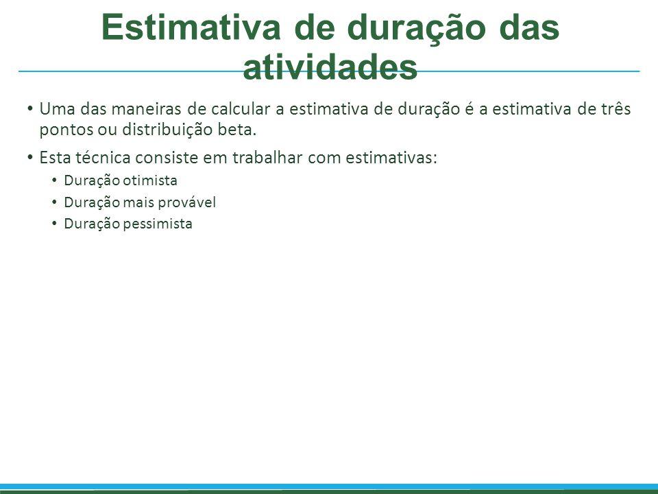 Estimativa de duração das atividades Uma das maneiras de calcular a estimativa de duração é a estimativa de três pontos ou distribuição beta. Esta téc