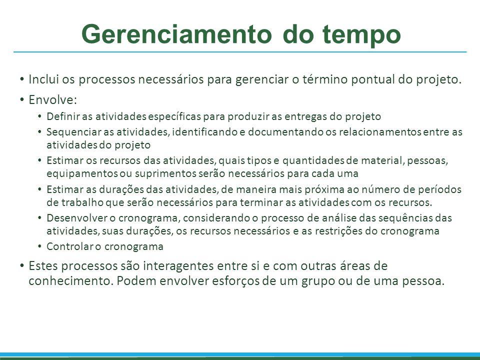 Gerenciamento do tempo Inclui os processos necessários para gerenciar o término pontual do projeto. Envolve: Definir as atividades específicas para pr