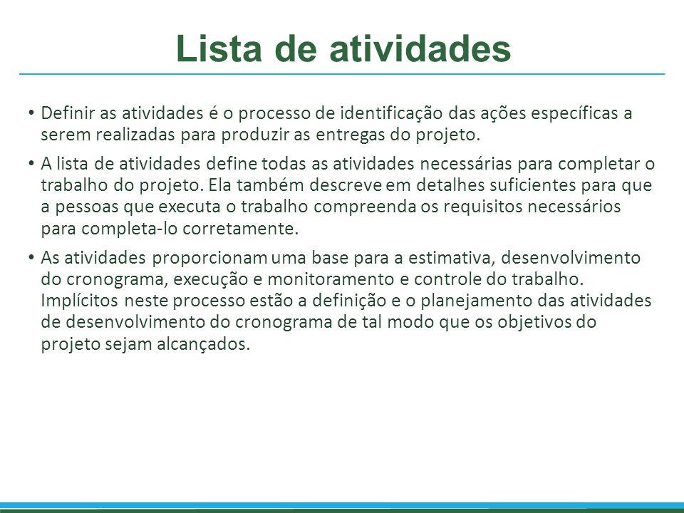 Lista de atividades Definir as atividades é o processo de identificação das ações específicas a serem realizadas para produzir as entregas do projeto.