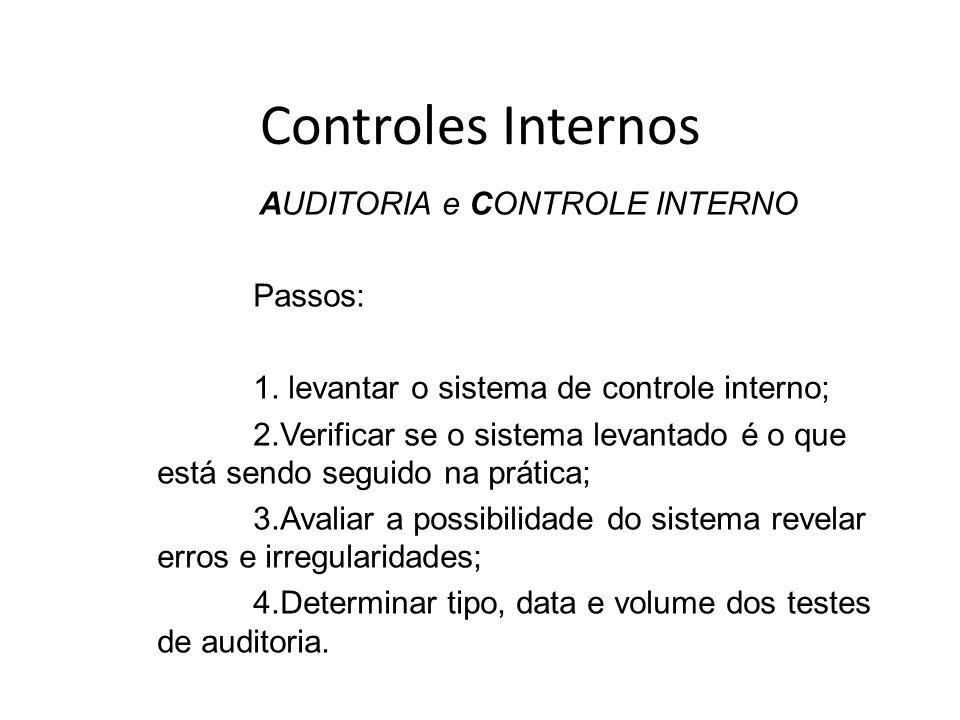 Controles Internos AUDITORIA e CONTROLE INTERNO Passos: 1. levantar o sistema de controle interno; 2.Verificar se o sistema levantado é o que está sen
