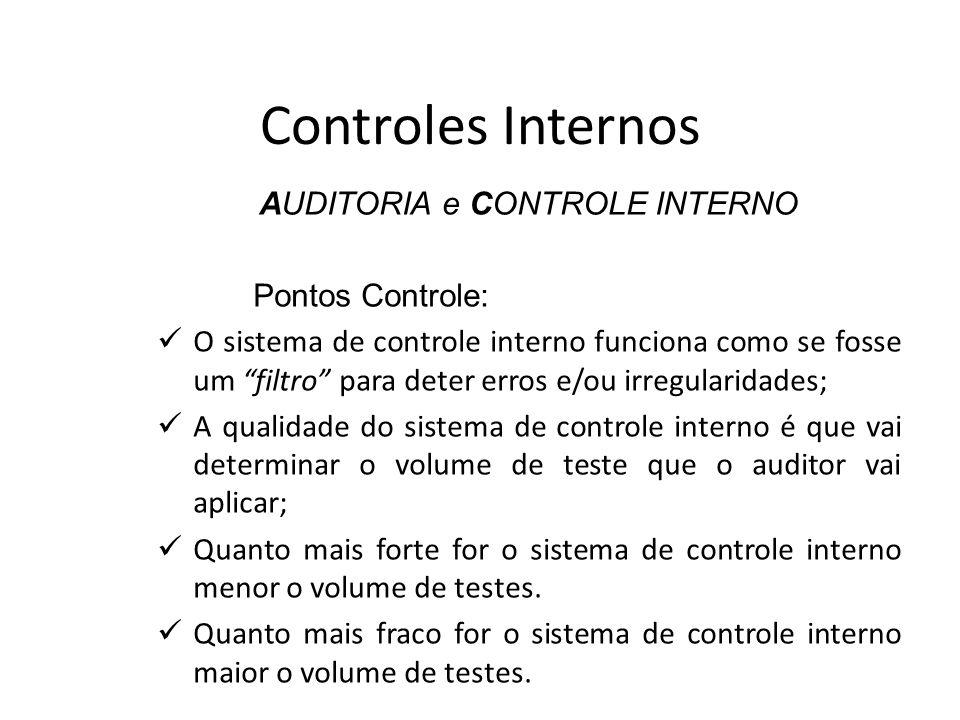 Controles Internos AUDITORIA e CONTROLE INTERNO Pontos Controle: O sistema de controle interno funciona como se fosse um filtro para deter erros e/ou