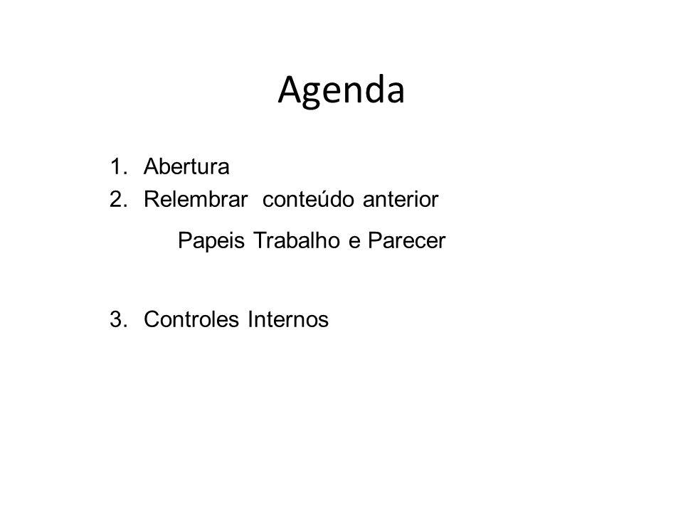 Agenda 1.Abertura 2.Relembrar conteúdo anterior Papeis Trabalho e Parecer 3.Controles Internos