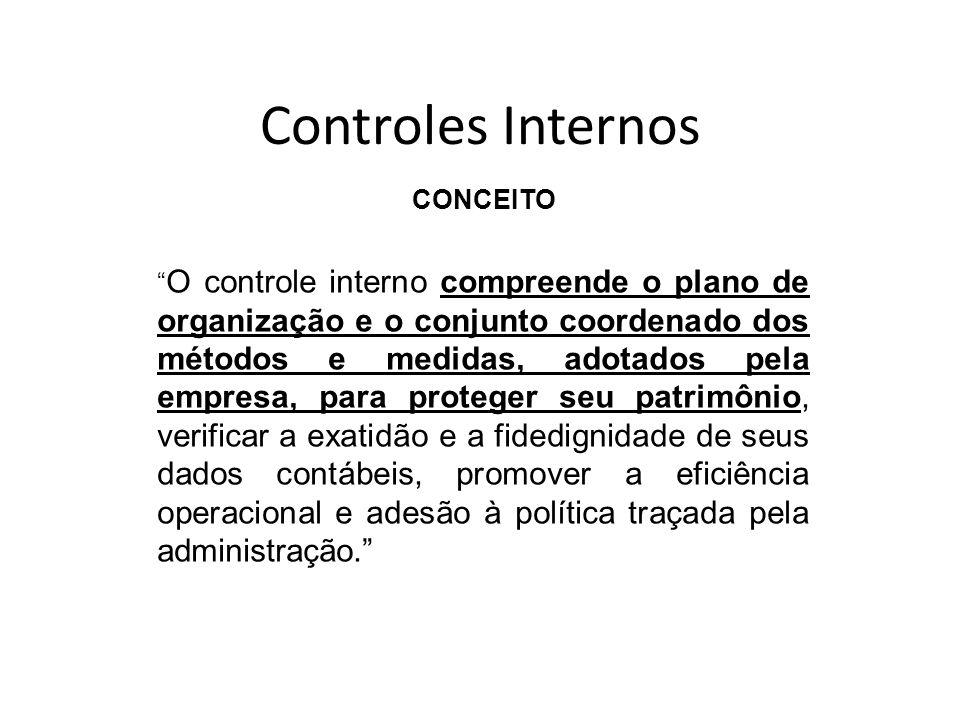 Controles Internos CONCEITO O controle interno compreende o plano de organização e o conjunto coordenado dos métodos e medidas, adotados pela empresa,