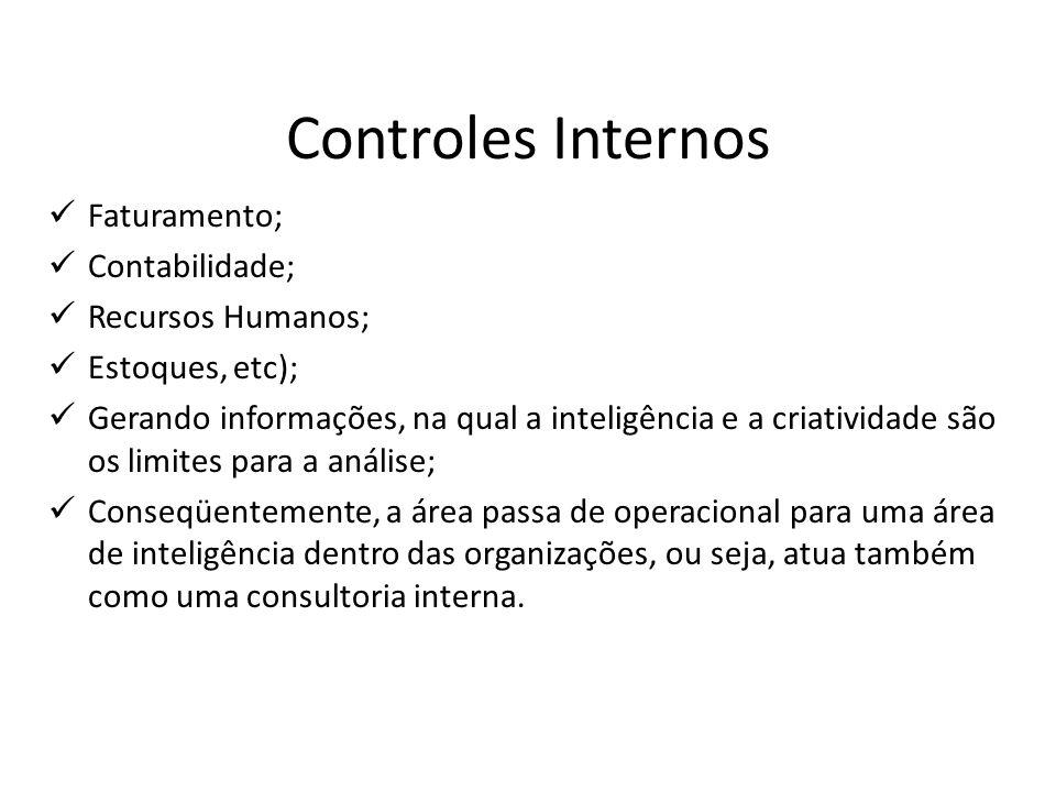 Controles Internos Plano de Organização Compreende o modo pelo qual a empresa organiza o seu sistema de sistema de controles internos.