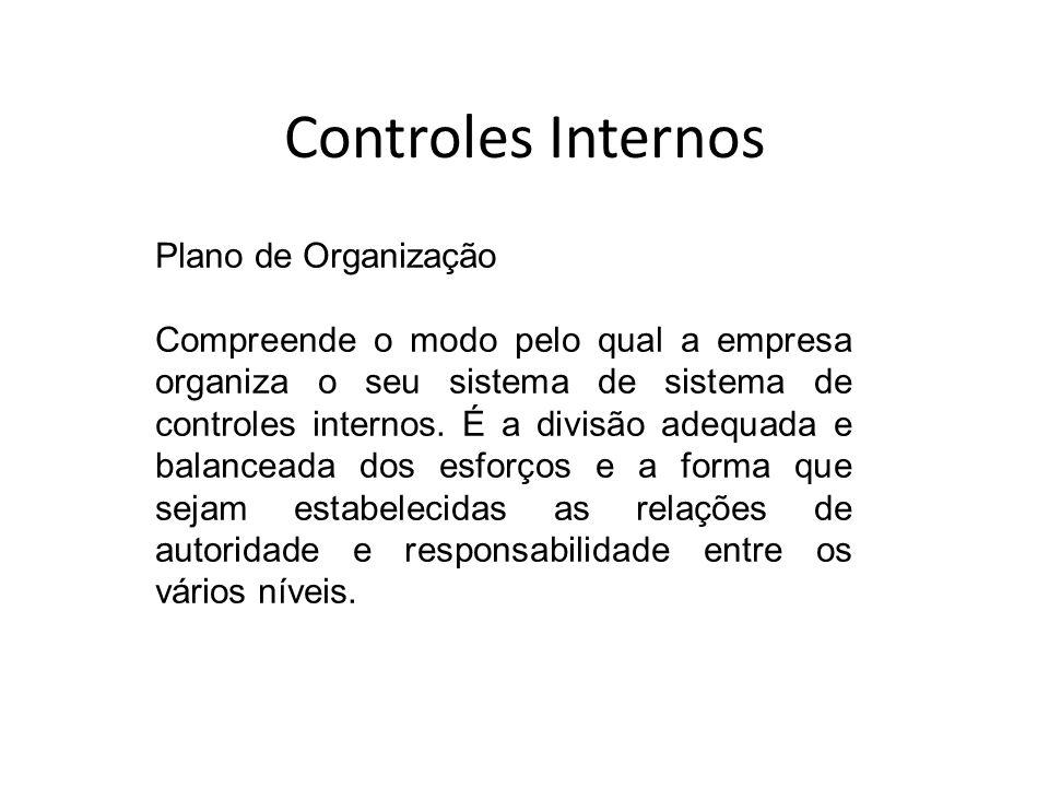 Controles Internos Plano de Organização Compreende o modo pelo qual a empresa organiza o seu sistema de sistema de controles internos. É a divisão ade