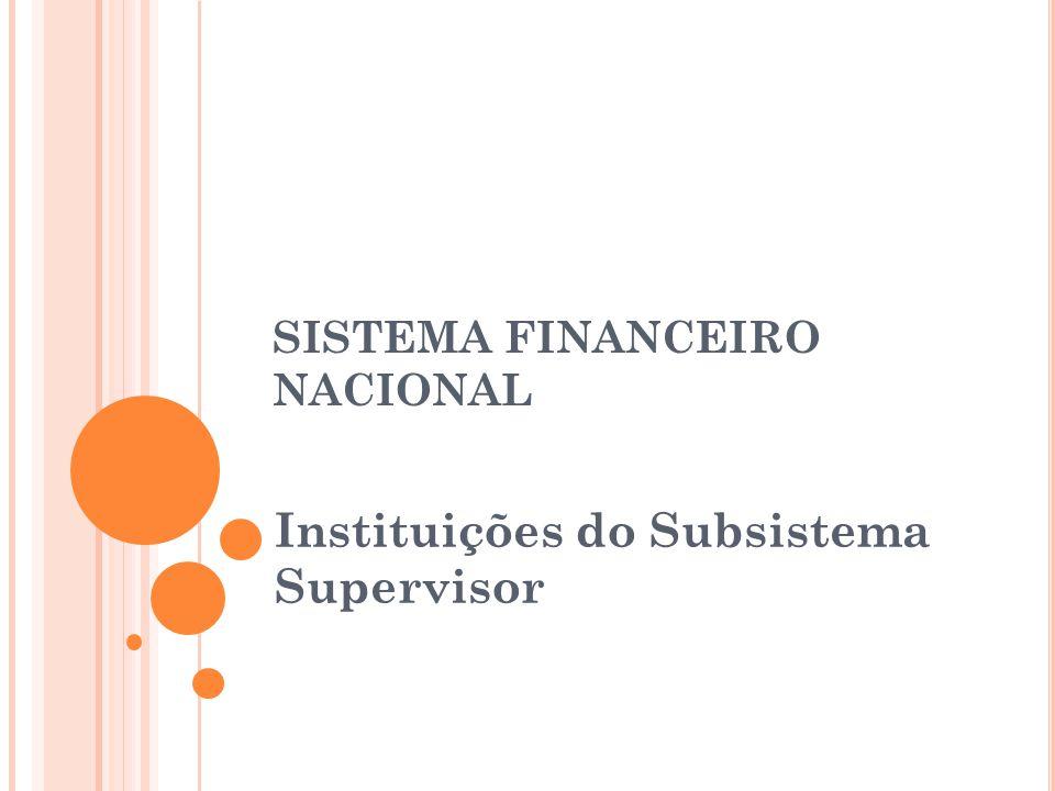 SISTEMA FINANCEIRO NACIONAL Instituições do Subsistema Supervisor