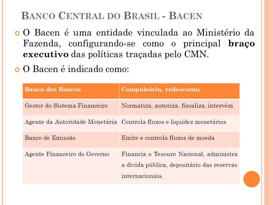B ANCO C ENTRAL DO B RASIL - B ACEN O Bacen é uma entidade vinculada ao Ministério da Fazenda, configurando-se como o principal braço executivo das po