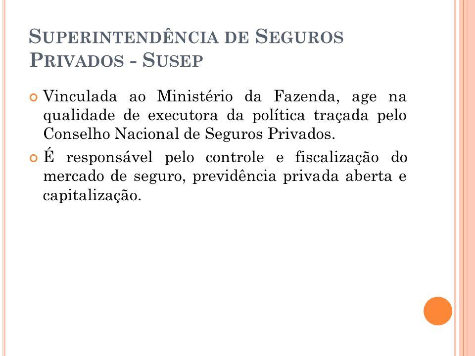 S UPERINTENDÊNCIA DE S EGUROS P RIVADOS - S USEP Vinculada ao Ministério da Fazenda, age na qualidade de executora da política traçada pelo Conselho N