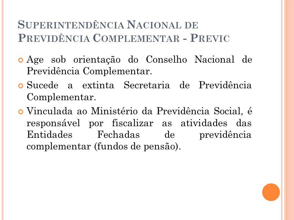 S UPERINTENDÊNCIA N ACIONAL DE P REVIDÊNCIA C OMPLEMENTAR - P REVIC Age sob orientação do Conselho Nacional de Previdência Complementar. Sucede a exti