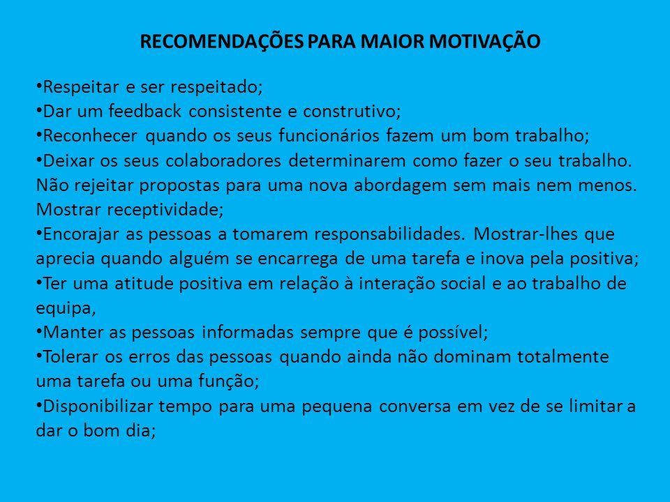 RECOMENDAÇÕES PARA MAIOR MOTIVAÇÃO Respeitar e ser respeitado; Dar um feedback consistente e construtivo; Reconhecer quando os seus funcionários fazem