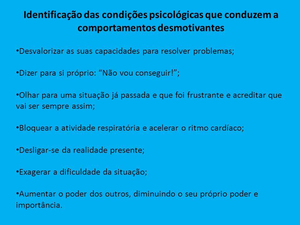 Identificação das condições psicológicas que conduzem a comportamentos desmotivantes Desvalorizar as suas capacidades para resolver problemas; Dizer p