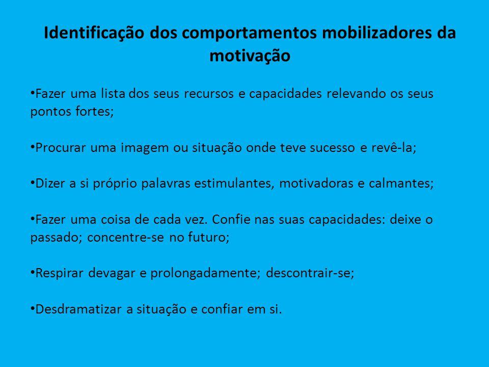 Identificação dos comportamentos mobilizadores da motivação Fazer uma lista dos seus recursos e capacidades relevando os seus pontos fortes; Procurar