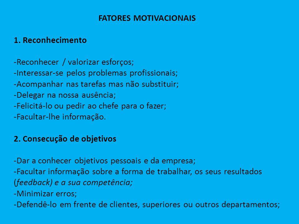 FATORES MOTIVACIONAIS 1. Reconhecimento -Reconhecer / valorizar esforços; -Interessar-se pelos problemas profissionais; -Acompanhar nas tarefas mas nã