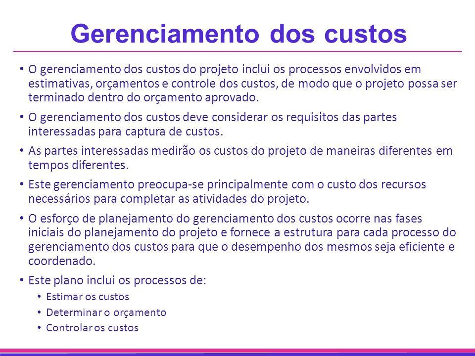 Gerenciamento dos custos O gerenciamento dos custos do projeto inclui os processos envolvidos em estimativas, orçamentos e controle dos custos, de mod