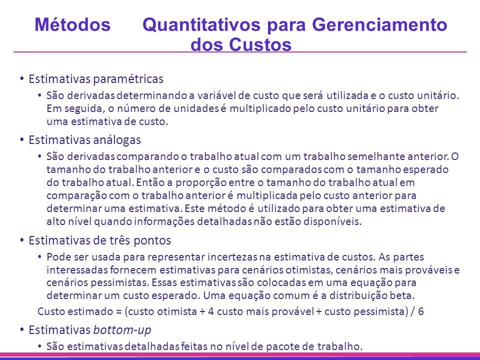 Métodos Quantitativos para Gerenciamento dos Custos Estimativas paramétricas São derivadas determinando a variável de custo que será utilizada e o cus