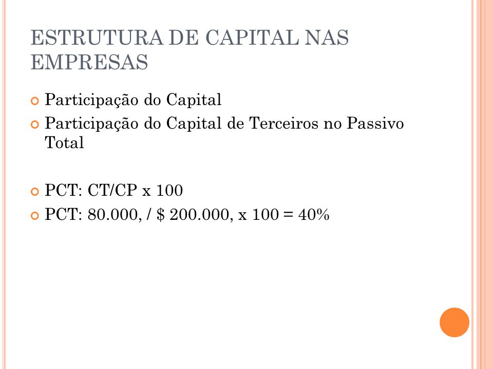 ESTRUTURA DE CAPITAL NAS EMPRESAS Participação do Capital Participação do Capital de Terceiros no Passivo Total PCT: CT/CP x 100 PCT: 80.000, / $ 200.