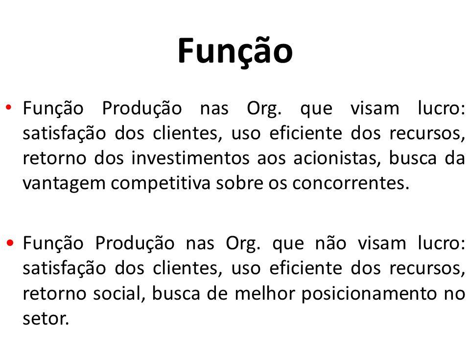 Função Função Produção nas Org. que visam lucro: satisfação dos clientes, uso eficiente dos recursos, retorno dos investimentos aos acionistas, busca
