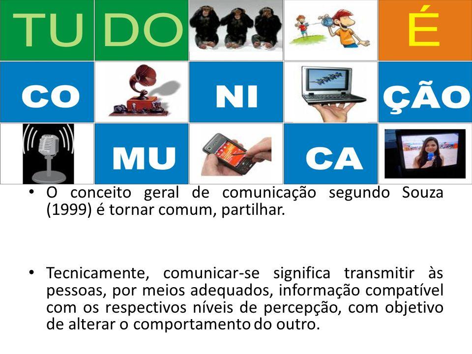 O conceito geral de comunicação segundo Souza (1999) é tornar comum, partilhar. Tecnicamente, comunicar-se significa transmitir às pessoas, por meios